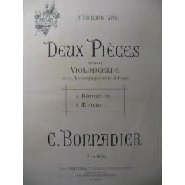 BONNADIER E. 2 Pièces pour Violoncelle Piano