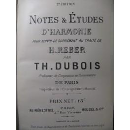DUBOIS Théodore Notes et Etudes d'Harmonie XIXe