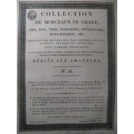 Collection de Morceaux de Chant n° 16 Chant Harpe ou Piano Violon Violoncelle ca1805