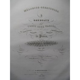 HÜNTEN François Rondeau et Air Varié op. 78 Piano 1836