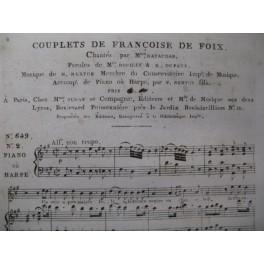BERTON H. Françoise de Foix Couplets Chant Harpe ou Piano ca1810