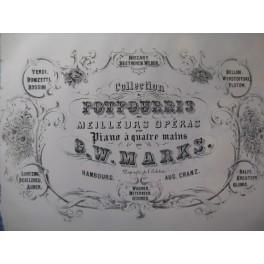 MARKS G. W. Potpourri Euryanthe Weber Piano 4 mains ca1865