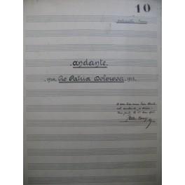 BOUY Jules Andante Manuscrit Dédicace Piano Violoncelle 1915