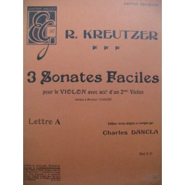 KREUTZER Rodolphe 3 Sonates Faciles Lettre A pour 2 Violons