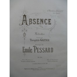 PESSARD Emile Absence Chant Piano ca1882