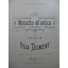 DUMONT Félix Minuetto all'antica Piano