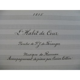 RAMEAU L'Habit de Cour Manuscrit Chant Piano 1917