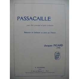 PICARD Jacques Passacaille Piano Alto